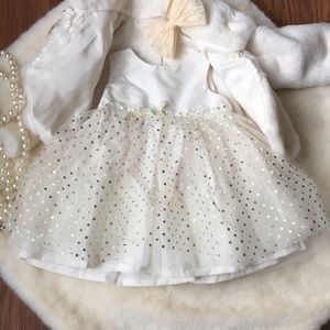 Ivory and Gold Baby Dress